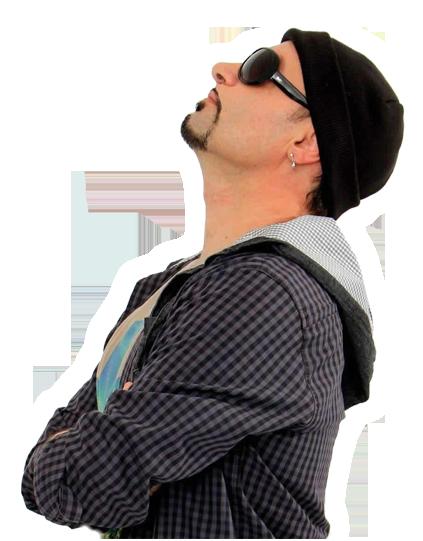 Imágen del famoso machito ponce parado de lateral izquierdo mirando al cielo, para decorar su sitio web oficial para contrataciones de recitales, shows, fiestas y eventos